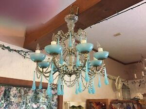 Antique Chandelier French Blue Murano Rare 8 Lights Opaline Drops Art Deco