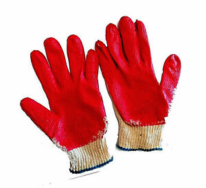 10 Pairs Coated Work Gloves Cotton Latex Palm Protective Korea