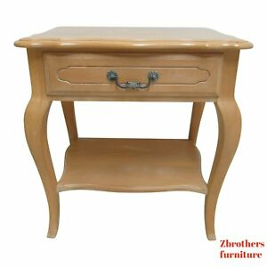Ethan Allen Country French High Leg Carved Lamp End Table Night Stand