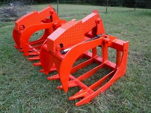 Kubota Skid Steer Attachment 80 Heavy Duty Root Grapple Bucket Ship 199