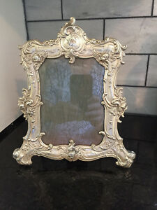 Gorham Antique Sterling Silver Picture Frame With Cherubs And Floral Leaves