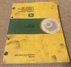 Parts Manual catalog John Deere 850 850 1050 Pc2016