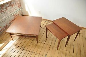 3 Pc Teak Nesting Table Set Mid Century