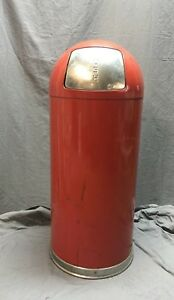 Vintage Firehouse Red Trash Can Waste Receptacle Dome Top Push Lid Can 138 18c