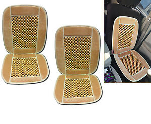 Set Of 2 Natural Wooden Beaded Massage Seat Cushion Car Auto Office Home Beige
