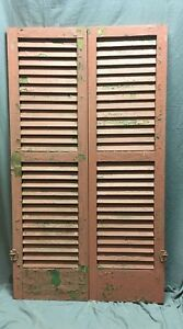 Pair Antique House Window Wood Louvered Shutters 55x16 Shabby Vtg 143 18c
