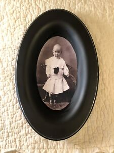 Primitive Vintage Photo Print Girl White Dress Repurposed Tray Farmhouse Decor
