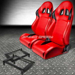 2 X Type R Red Pvc Leather Racing Seat Low Mount Bracket For 02 06 Dc5 Acura Rsx