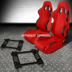 Red Cloth black Reclinable Racing Seats bracket For 06 11 Honda Civic Fa fg1 fg2