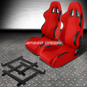 Red Cloth black Reclinable Racing Seat low mount Bracket For 99 04 Ford Mustang