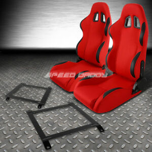Red Cloth Black Reclinable Racing Seats Low Mount Bracket For 89 97 Miata Mx5