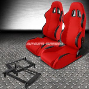 Red Cloth Black Reclinable Racing Seat Low Mount Bracket For 02 06 Dc5 Acura Rsx