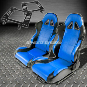 Pair Type 5 Reclining Black Blue Woven Racing Seat bracket For 79 98 Mustang