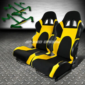 2x Black yellow Reclinable Racing Seats universal Slider 4pt Harness Green Belts