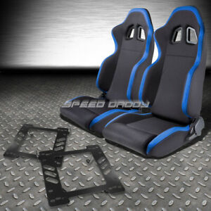 2x Blue Trim Sports Fabric Racing Seats Mount Bracket For 97 06 Jeep Wrangler Tj