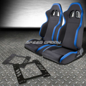 2x Blue Trim Sports Fabric Racing Seat Mount Bracket For 78 88 Chevy Monte Carlo