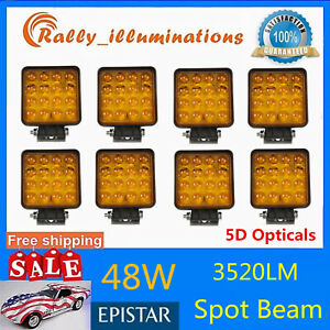 8x 48w Led Emergency Work Light Truck Car Driving Fog Lamp Flood Amber Yellow 5d