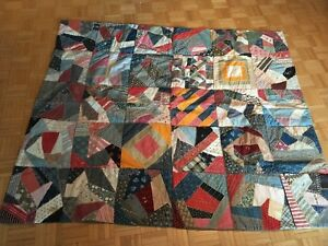 Antique 1908 Crazy Design Hand Stitched Quilt With Signatures
