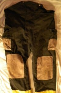 Firefighter Turnout Bunker Pants Black Bib W liner 48 32 Halloween Costume