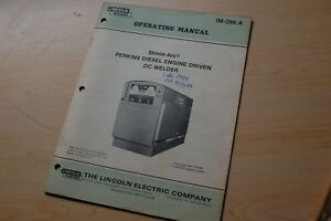 Lincoln Dc Welder Perkins Diesel Engine User Owner Operator Operation Manual