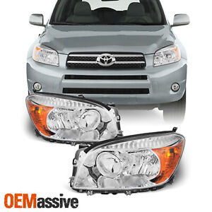 Fits 2006 2007 2008 Toyota Rav4 Left Right Side Headlights Front Lamps Pair