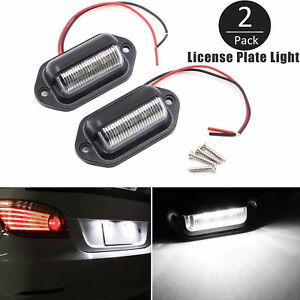 2pc Universal 6 Smd Led License Plate Tag Lights Lamps For Truck Suv Trailer Van