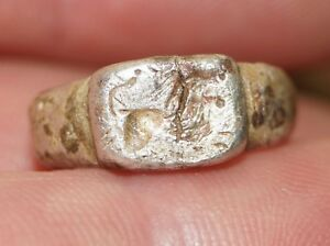 Beautiful Roman Child S Silver Seal Ring Depicting A Lion 2nd 3rd Century A D