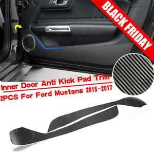 Black Carbon Fiber Door Anti Kick Sticker Trim Decor For Ford Mustang 2015 2017