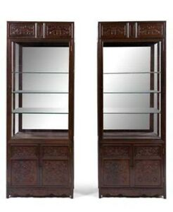 An Exceptionally Pair Of Chinese Zitan Veneer Hardwood Display Two Pieces