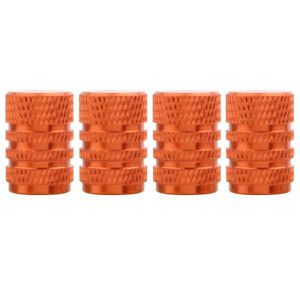 Orange Round Style Aluminum Tire Valve Stem Caps For Auto Car Motorcycles