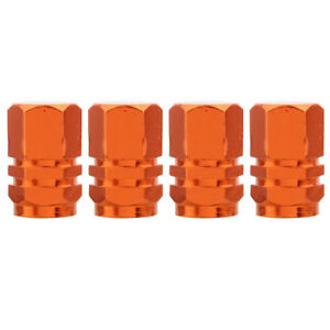 4pcs Orange Hexagon Wheel Tyre Valve Stem Caps For Jeep Suv 4wd Rims Dust Cover
