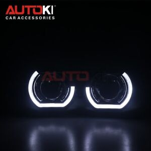 Autoki 2 5 Led Angel Eyes Bi Xenon Lens Projector Headlight For Car Retrofit