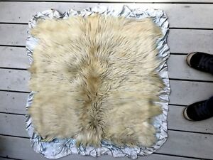 Antique Vtg Satin Baby Coverlet Blanket Backed With Goat Fur Victorian Unusual