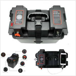 Multi function Battery Box W Voltmeter Usb Charger For Car Marine Boat Rv Truck