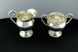 Damask Rose Heirloom Sterling Silver Sugar Bowl And Creamer Set 609 No Monogram