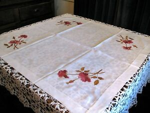 Antique Linen Tablecloth Society Silk Embroidered Roses Padded Stitches Art Nouv