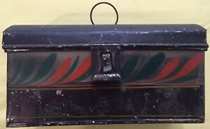 Antique American Tole Tin Document Box Painted And Decorated