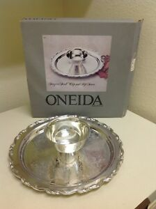 Oneida Georgian Scroll Chip And Dip Server Silverplated With Box