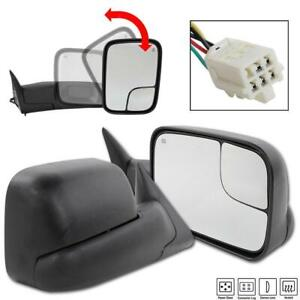 L R For 98 01 Dodge Ram 1500 98 02 2500 Power Heated Extend Flip Up Tow Mirrors