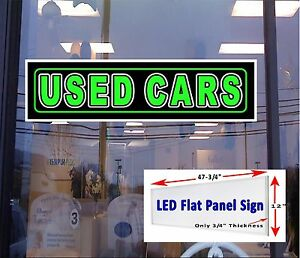 Led Sign Used Cars Window Sign 48x12 Neon Banner Alternative