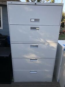 Hon 5 Drawer Lateral File Cabinet White With Pull Out Shelf