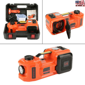 Electric 12v 5 Ton Car Hydraulic Floor Jack Tire Inflator Gauge Impact Wrench