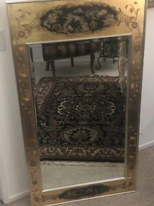 Labarge Chinoiserie Style Eglomise Mirror Excellent Condition 28 5 X 52 Tall