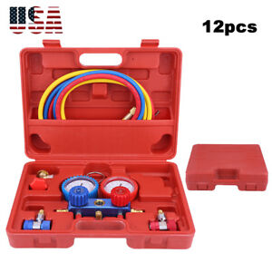 R134a Car A c Refrigeration Kit Manifold Gauge 5ft Charging Hoses Quick Couplers