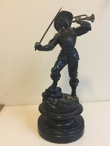 Antique 12 Iron Brass Statue Of A Musketeer
