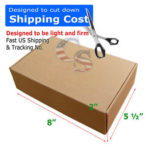 100 Pcs 8x5 x2 Shipping Packing Mailing Moving Tapeless Boxes Corrugated Carton