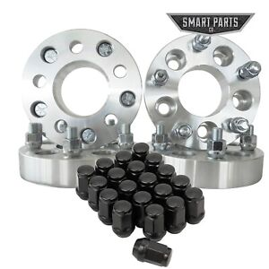 4 Qty 1 Wheel Spacers Adapters 5x5 Hubcentric 1 2x20 Studs 20 Black Lug Nuts