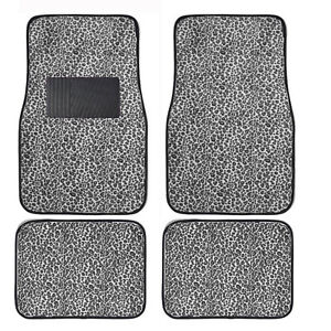 4pc Set Snow Cheetah Safari Car Truck Floor Mats Carpet