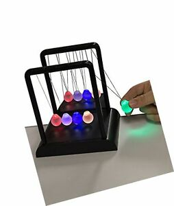 Newton s Multi color Light Up Cradle With Led Glass Balls And Mirror For Desk