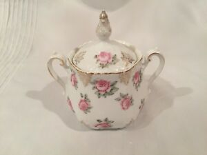 Z S Co Bavaria Lidded Sugar Bowl With Big Pink Roses And Gold Scrolls
